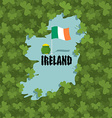 Map of Ireland and Shamrock Many of clover in vector image