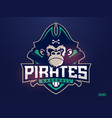 modern professional emblem pirates monkey for vector image