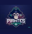 modern professional emblem pirates monkey for vector image