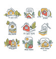 my sweet home logo set eco home wood house vector image vector image
