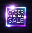 neon sign with cyber monday text on brick wall vector image vector image