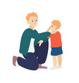 parent hug and soothe crying child father vector image vector image
