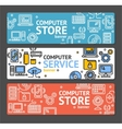 PC Service and Shop Banner Horizontal Set vector image vector image