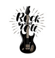 rock and roll music concept guitar typographic vector image vector image