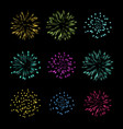 set of fireworks object vector image