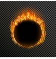 set realistic transparent fire flames on a vector image