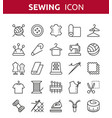 sewing knitting and needlework line icons vector image vector image