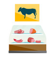 showcase of butcher shop with meat cartoon vector image