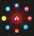 social network infographic icons vector image vector image