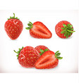 Strawberry Sweet fruit 3d icons set Realistic vector image