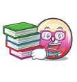 student with book jelly ring candy mascot cartoon vector image vector image