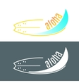 surfboard logo with wave or surfing shop vector image vector image