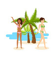 tanned girls in bikini rest during a vacation vector image vector image