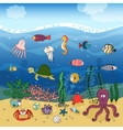 Underwater ocean life under the waves vector image vector image