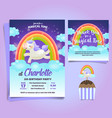 unicorn little pony theme birthday invitation vector image