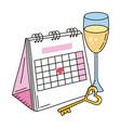 valentines day calendar cartoon vector image vector image
