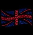 waving uk flag pattern of crown items vector image