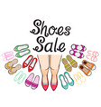 womens shoes sale with woman legs and lettering vector image vector image