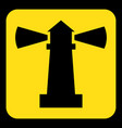 yellow black information sign - lighthouse icon vector image vector image