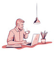 young man working on laptop and drink coffee vector image