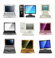 computer types icons set vector image