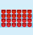 offer ribbon set red ribbon banner quality label vector image