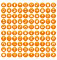 100 child center icons set orange