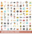 100 design skill icons set flat style vector image vector image