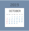 2019 happy new year october calendar template vector image