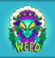 alien smoking summer cannabis plants vector image vector image