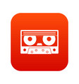 audio cassette tape icon digital red vector image vector image