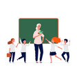 back to school happy teacher and preschool kids vector image vector image