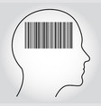 barcode shown inside the contour of the human head vector image