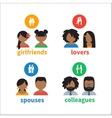 Bright icons and avatars vector image