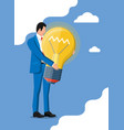 businessman with light idea bulb vector image vector image