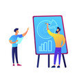 businessmen drawing pie chart and discussing it vector image vector image