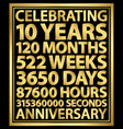 celebrating 10th anniversary gold banner 10 years