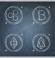 chalkboard cryptocurrency icon set in line style vector image vector image