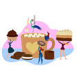 chocolate sweets concept tiny people holding huge vector image vector image