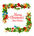 christmas card with new year garland frame corner vector image vector image