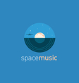 Creative logo music disc and the moon vector image vector image