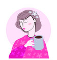 cute girl in cozy sweaterdrinks hot tasty cups of vector image vector image