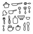 doodle cartoon kitchen elements vector image