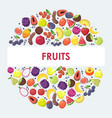 exotic fruits in round frame composition vector image vector image