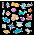 Fashion patch badges Sea set Stickers pins vector image