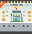 flat style pizzeria cafe design web site design vector image