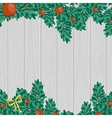 Green Christmas decoration on gray wood background vector image vector image