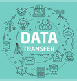green line flat circle data transfer vector image