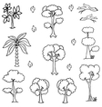 Hand draw tree icon set of doodles vector image