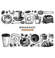 hand sketched breakfast collection morning food a vector image vector image